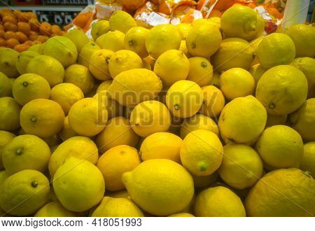 Juicy Lemons Close-up In A Hypermarket For Sale.