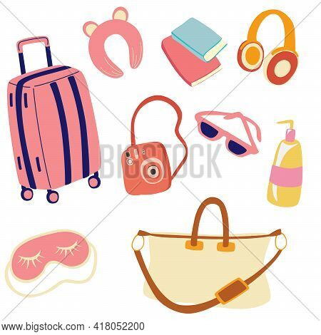 Travel Preparation Set. Luggage And Necessary Supplies For Trip And Traveling. Travel Elements For W