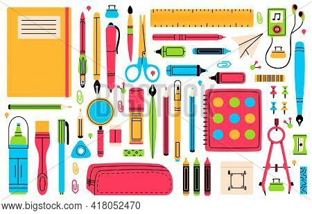 School Chancellery. Pupils Education Hand Drawn School Supplies, Pencil, Pen, Ruler, Eraser And Scis
