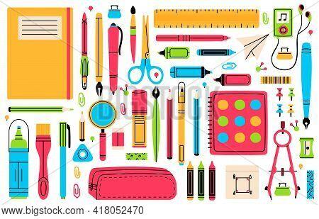 School Chancellery. Pupils Education Hand Drawn School Supplies, Pencil, Pen, Ruler, Eraser And Scis