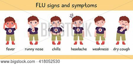 Flu Symptoms Infographic. Disease Cold, Flu Or Coronavirus Symptoms, Runny Nose, Headache, Fever And
