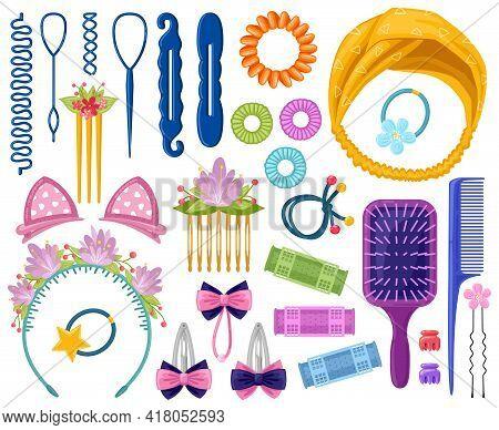 Woman Hair Accessories. Cartoon Girlish Hair Accessory, Hair Pins, Headband, Curlers And Elastic Ban