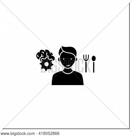 Mindful Eating Glyph Icon. Control Nutrition Habits. Intuitive Eating. Conscious Nutrition. Healthca