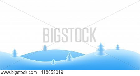 Christmas Holiday Background. Winter Snow December Landscape, Cold. Christmas Tree On Blue Hill For