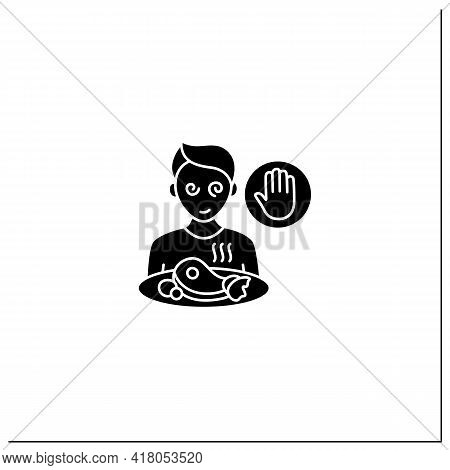 Mindful Eating Glyph Icon. Unconscious Nutrition. Overeating. Eat Without Being Hungry. Healthcare C