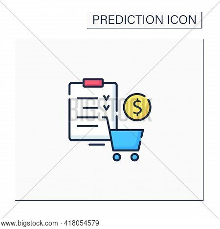 Merchandise Planning Color Icon. Shop List. Only Necessary Products. Save Money. Grocery Basket And