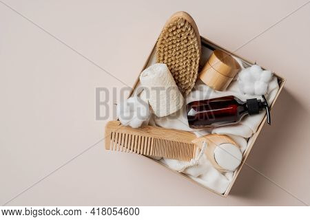 Beauty Gift Box With Natural Cosmetics Set On Beige Background. Flat Lay, Top View Present Box With