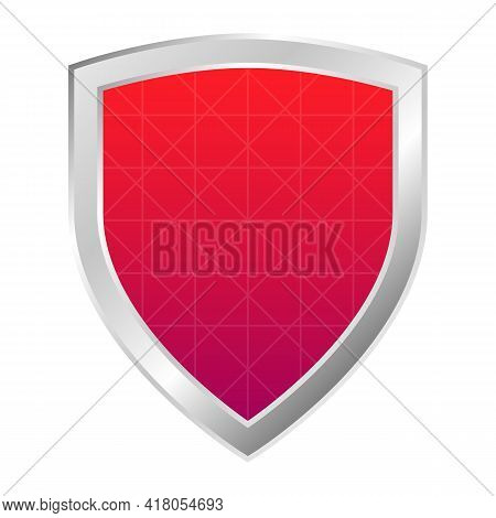 Red Shield With Silver Frame Protection And Defence Concept Icon. Flat Design Armor Symbol Vector Il