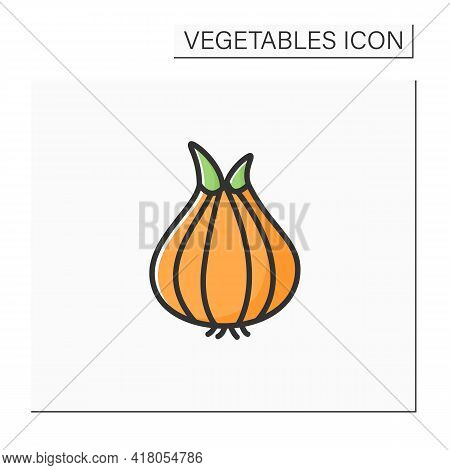 Onion Color Icon. Widely Cultivated Species For Dishes.improve Food Taste. Dietary Food. Vegetarian,