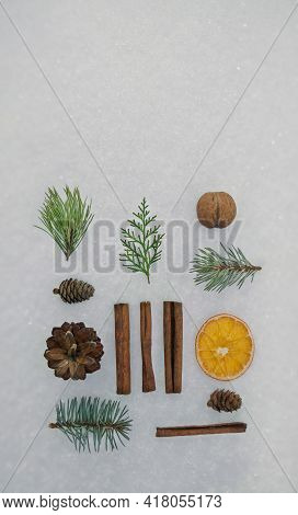 Christmas Set , Background With Decorations. Christmas Gift, Pine Cones, Cinnamon, Tangerine, Orange