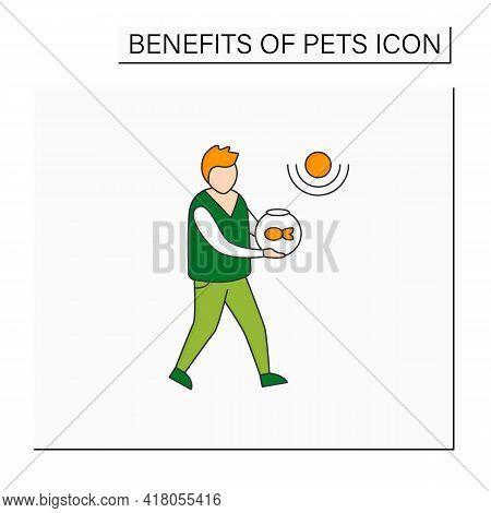 Pets Benefits Color Icon.man Have Fish In Aquarium. Reduce Stress Level. Companionship. Animal Carin
