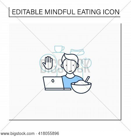 Mindful Eating Line Icon. Eating At Desk In Front Of Computer Screen.eat Mindlessly, Unconscious Nut