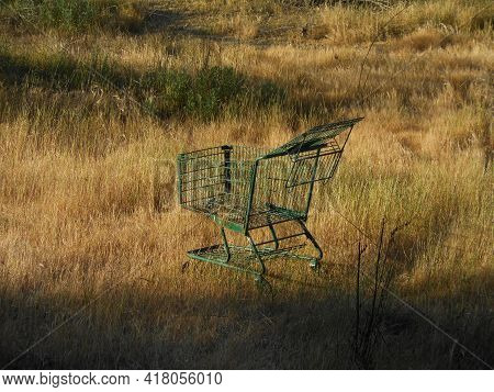 Green Shopping Cart In The Middle Of Dry Grassy Field