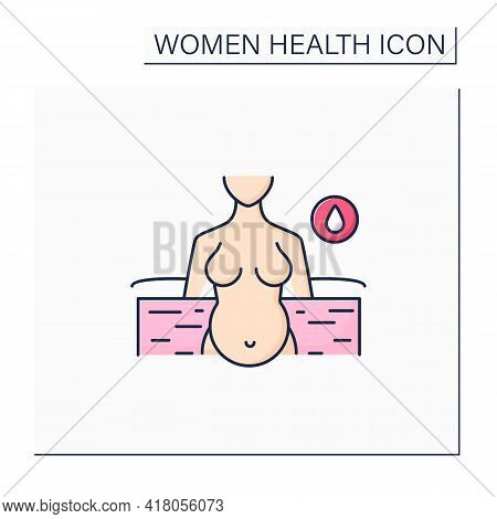 Waterbirth Color Icon. Birthing In Special Bath Or Pool. Less Painful Childbirth. Woman Health Conce
