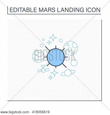 Solar System Line Icon. Gravitationally Bound System Of Sun And Planets. Space, Universe. Mars Landi