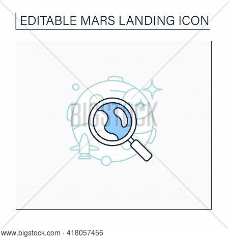 Mars Exploration Line Icon. Planet Research. Searching For New Lifes. Mars Landing Concept. Isolated