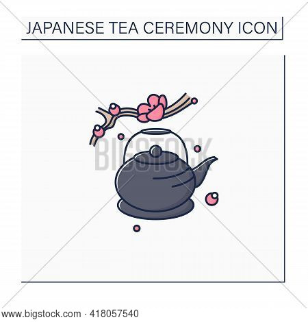 Japanese Teapot Color Icon. Ancient Kettle For Tea Ceremony And Sakura Twig. Trendy Traditional Teap