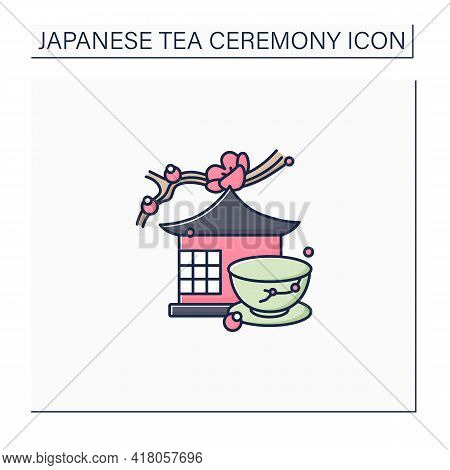 Tea Room Color Icon. Special Place For Tea Ritual. Japanese Ethnic And National Ceremony.unique Hand