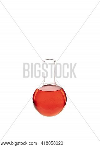 Flat Bottom Flask Filled With Colorful Red Liquid Isolated Against White Backgroound. Chemistry Rese