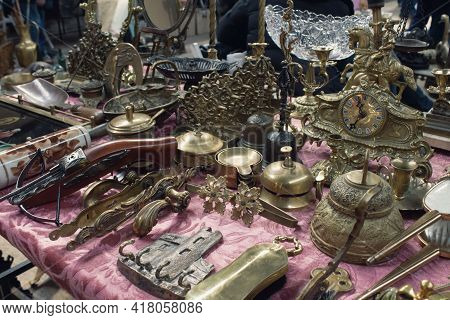 Antiques On Flea Market, Vintage Silver Cultery - Spoons, Knifes, Forks And Other Vintage Things. Co