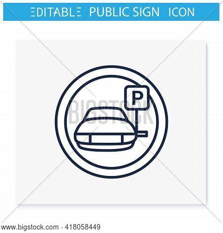 Parking Symbol Line Icon. Car Park Place. Parking Lot. Road Sign. Public Place Navigation. Universal