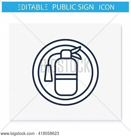 Fire Extinguisher Symbol Line Icon. Fire Prevention And Recovery. Public Place Navigation. Universal