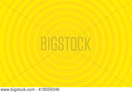 Yellow Radiating Concentric Circle Pattern Background. Vibrant Radial Geometric Vector Illustration
