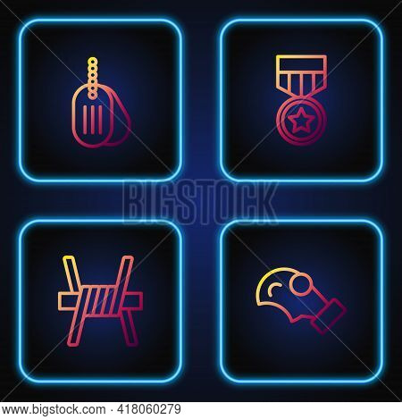 Set Line Gas Mask, Barbed Wire, Military Dog Tag And Reward Medal. Gradient Color Icons. Vector