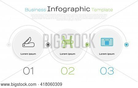 Set Line Swiss Army Knife, Barbed Wire And Dynamite Bomb. Business Infographic Template. Vector