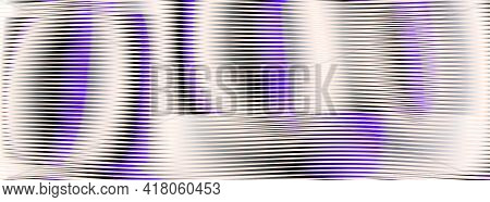 Vector Futuristic Abstract Web Banner With Striped Rounded Shapes And Moire Effect. Monochrome Backg