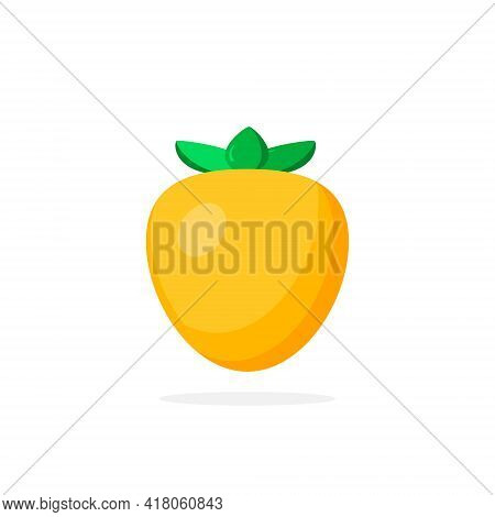 Persimmon Icon In Flat Style. Isolated Object. Persimmon Logo. Vector Flat Design Illustration.