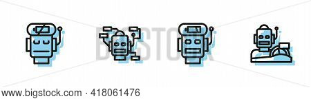 Set Line Robot Low Battery Charge, , And Humanoid Driving Car Icon. Vector