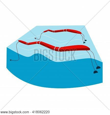 Alternative Energy Source Wave Station Renewable Hydroelectric, Hydropower Blue Red Color Seascape B