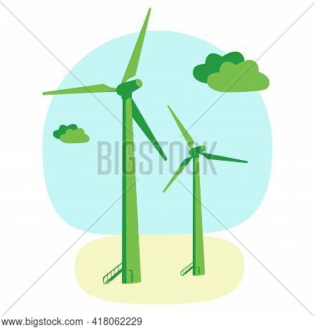 Green Energy Wind Turbine Eco Electricity, Green Colors Vector Illustration