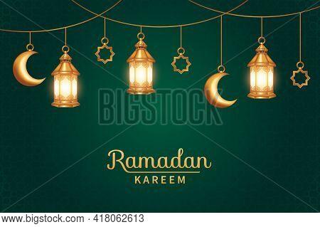 Islamic Background Suitable For Ramadan, Eid Al Adha, Eid Al Fitr. Ramadan Kareem With Realistic 3D