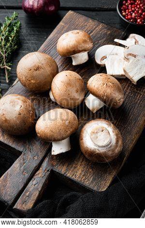 Royal Champignons, Parisian Champignons Set, On Black Wooden Table Background