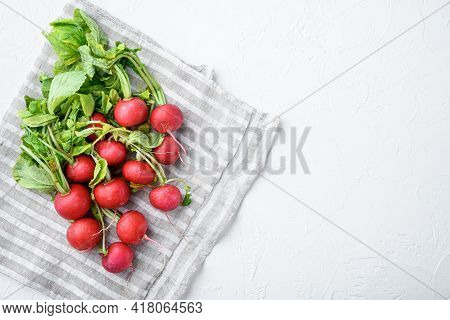 Summer Harvested Red Radish. Growing Organic Vegetables. Large Bunch Of Raw Fresh Juicy Garden Radis