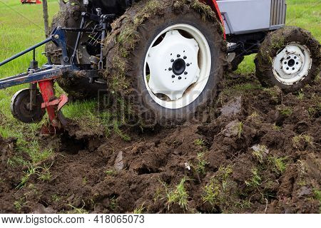 A Tractor With A Plow Plows An Agricultural Field In Spring For Planting Potatoes. Plowing The Land,
