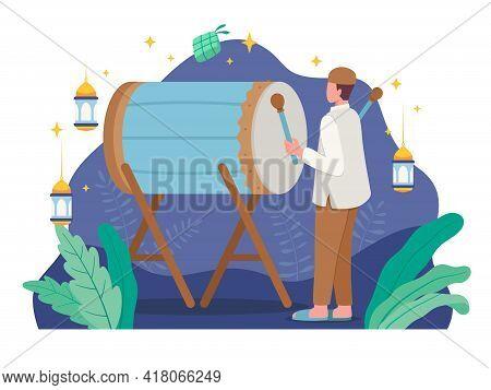 Celebrating Eid Al-fitr Illustration