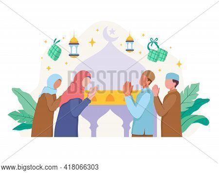Muslim People Greeting And Celebrating Eid Mubarak