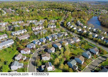 Aerial View Of Small American Town Residential Houses Neighborhood Complex At Suburban Housing Devel