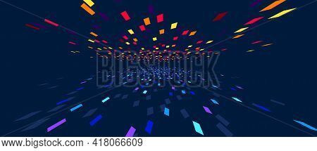 Abstract Vector Background, Communication Technology Concept, Dark 3d Bits Flying In Perspective, Fu