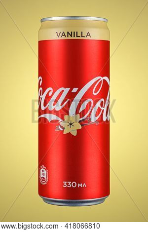 Moscow, Russia - April 07, 2021: Coca-cola Vanilla In Red Aluminum Can With Beige Stripe On Beige Ba