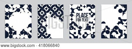 Backgrounds And Cover Templates Vector Set, Abstract Geometric Designs, Black And White Compositions