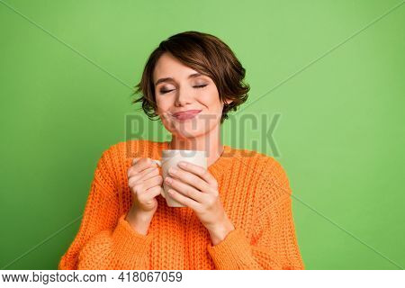 Photo Of Brunette Attractive Lady Hold Coffee Cup Smell Aroma Charming Smile Isolated On Green Color