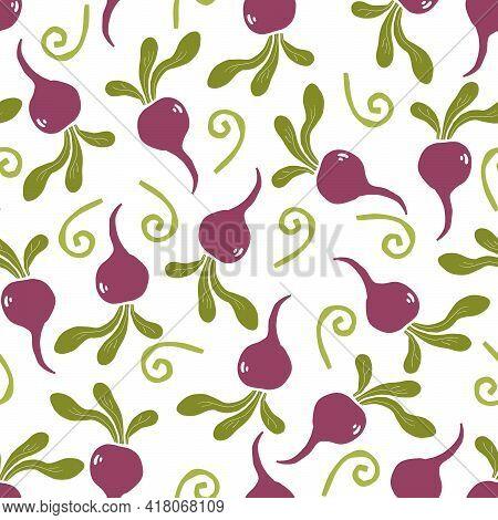 Hand Drawn Seamless Pattern Of Simple Beet. Doodle Sketch Style. Beet Pattern For Food Shop, Vegetab