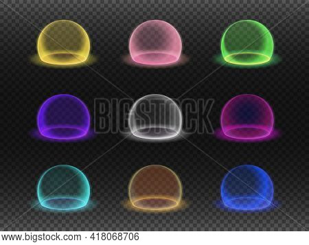 Force Field Set Isolated On Transparency Grid, Various Energy Or Defense Shields, Deflector Or Force