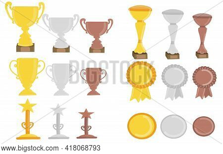 Gold, Silver And Bronze Trophy Cup For Winners And Others Sport Trophy. Vector Flat Graphic Design C