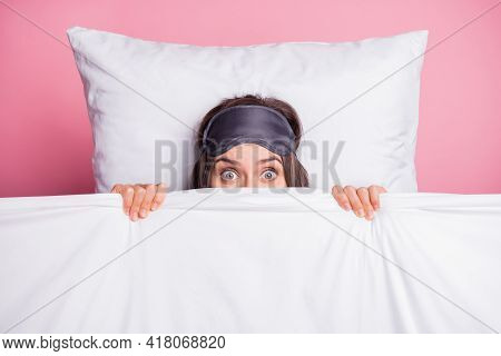 Top Above High Angle View Photo Of Young Shocked Scared Girl Wake Up After Nightmare Isolated On Pin