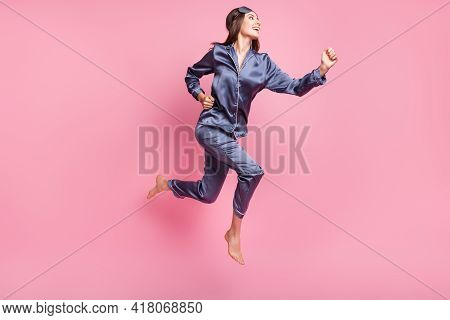 Full Length Body Size Side Profile Photo Of Girl Wearing Nightwear Jumping Running On Pajama Party I